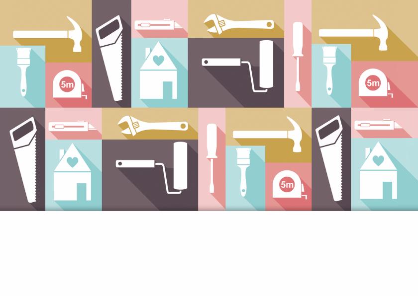 Verhuiskaart felicitatie pastel gereedschap 2