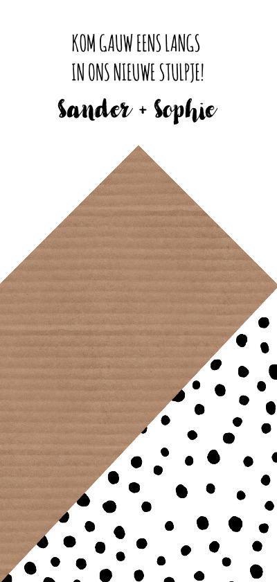 Verhuiskaart grafisch huis stippen zwart-wit Achterkant