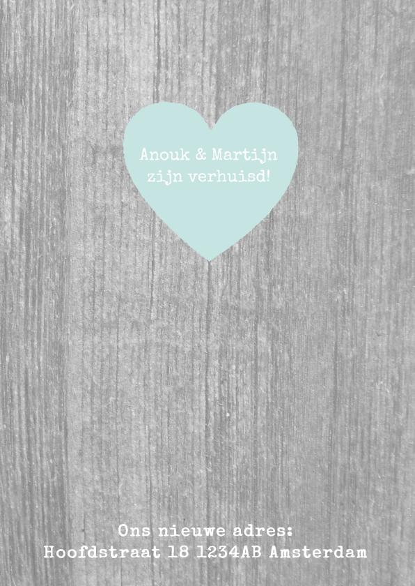 Verhuiskaart hout tekst en foto  3
