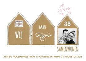 Verhuiskaarten - Verhuiskaart huisjes samenwonen