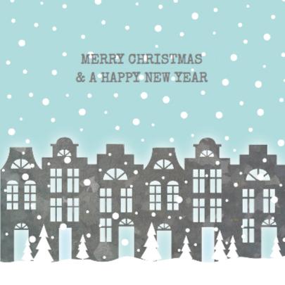 Verhuiskaart Kerstkaart Huisjes 2