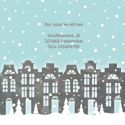 Verhuiskaart Kerstkaart Huisjes 3