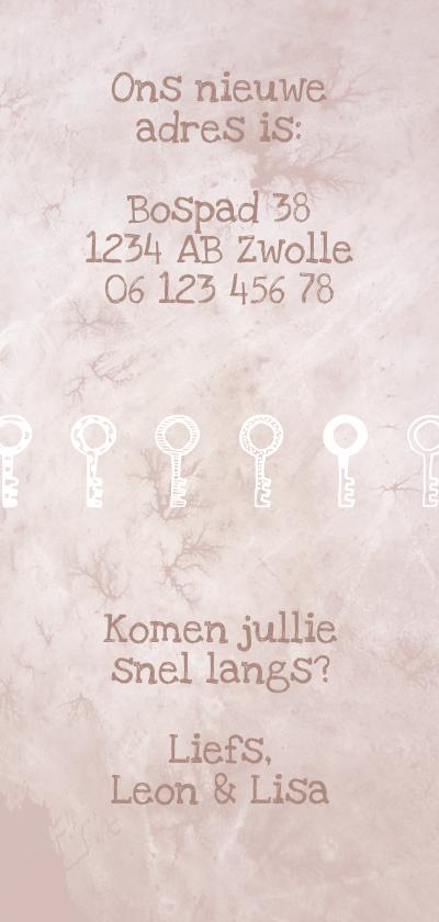 Verhuiskaart langwerpig  marble roze met sleutels achterkant