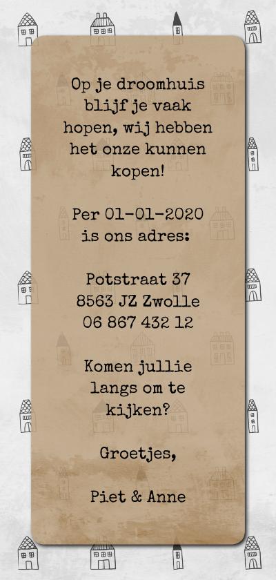 Verhuiskaart langwerpig met labels en huisjes patroon achterkant