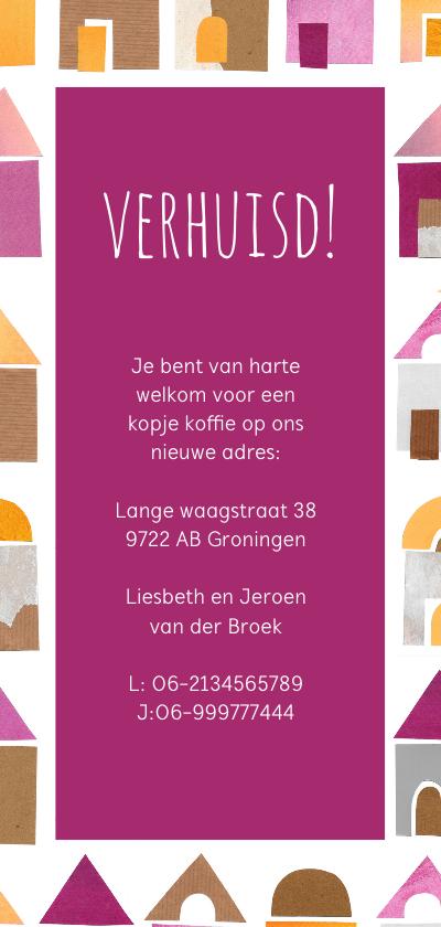 Verhuiskaart papiercollage huisjes Achterkant
