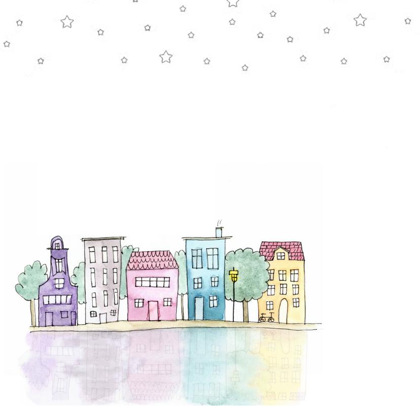 Verhuiskaart vierkant met handgeschilderde huisjes 2
