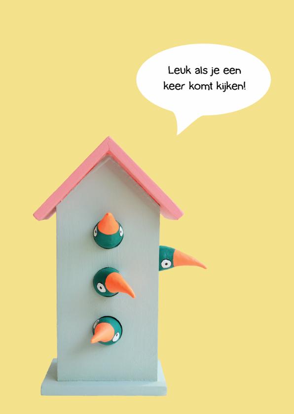 Verhuiskaart vogelhuis 4 vogels 2