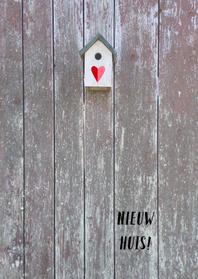 Verhuiskaarten - verhuiskaart vogelhuisje hout