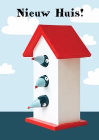 Verhuiskaarten - Verhuiskaart vogels in huisje