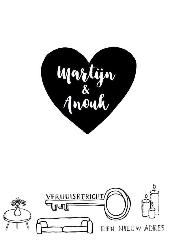 Verhuiskaart zwart-wit handlettering hart 3