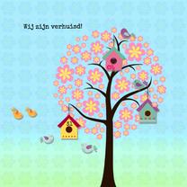 Verhuiskaarten - Verhuizen met boom en vogeltjes