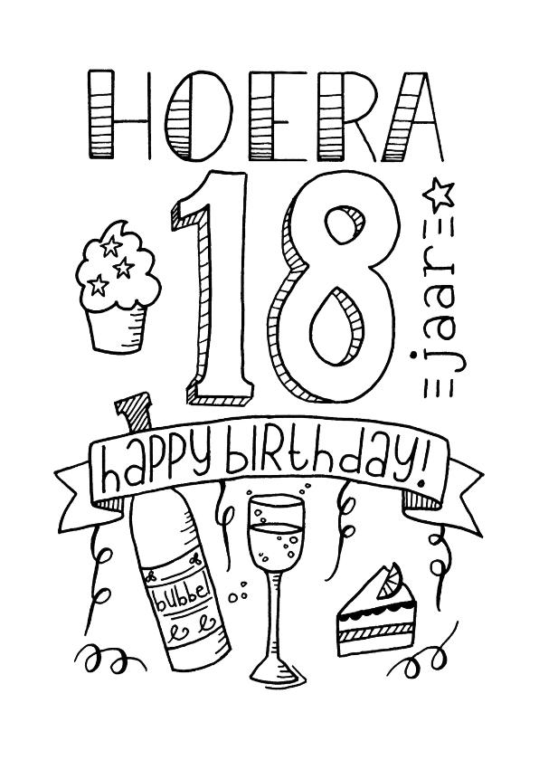 Kleurplaat 1 Jarige Oma Jarig Verjaardag 18 Handlettering Ts Verjaardagskaarten