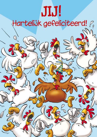 verjaardag 25 grappige kippen op stok 3