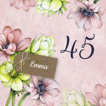 Verjaardagskaarten - Verjaardag annemoon label