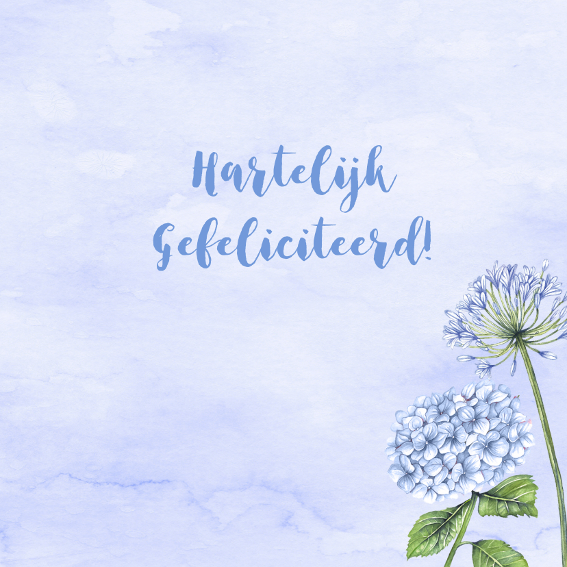 Verjaardag blauwe bloemen aquarel 3