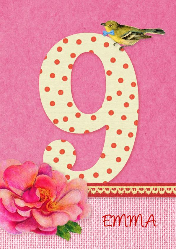Verjaardag Bloem Meisje 9 Verjaardagskaarten Kaartje2go