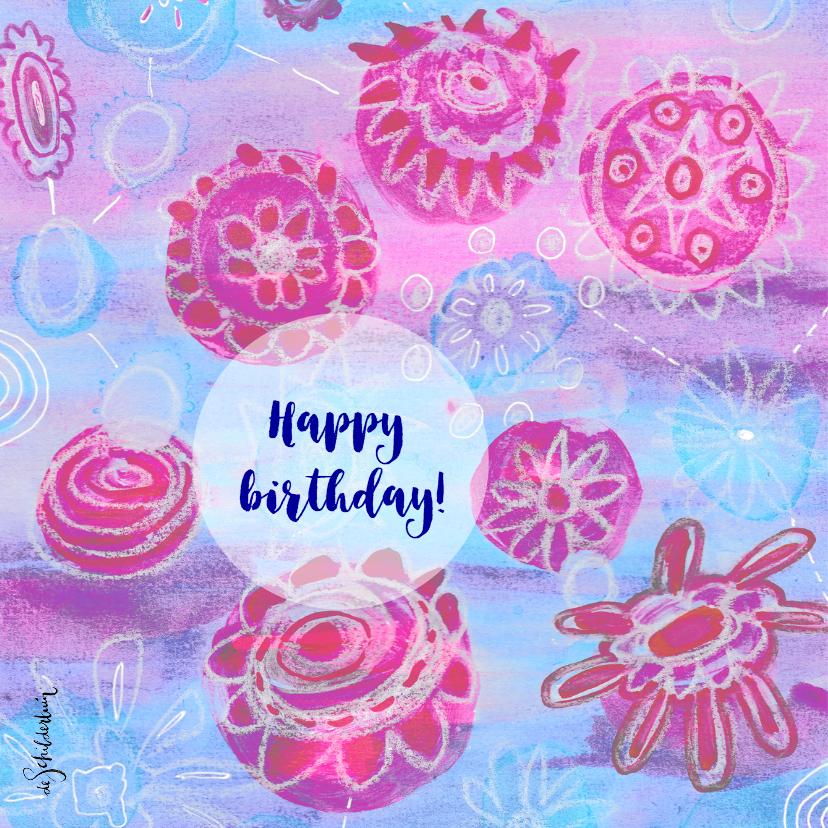 Verjaardag bloemen roze blauw2 - HR 2