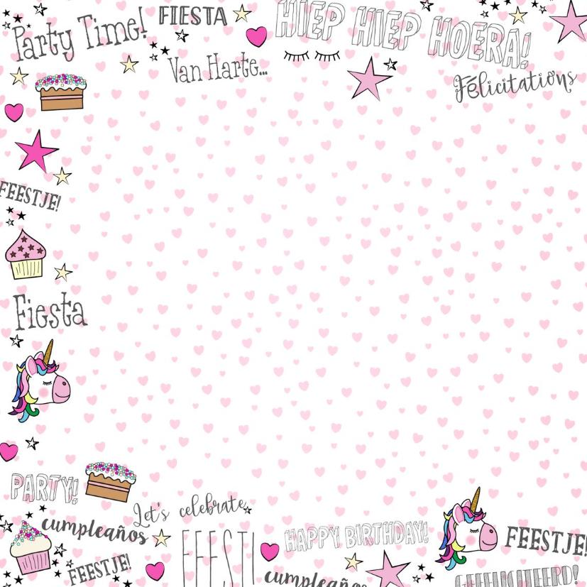 Verjaardag feestelijke kaart handletteringstijl met unicorns 2