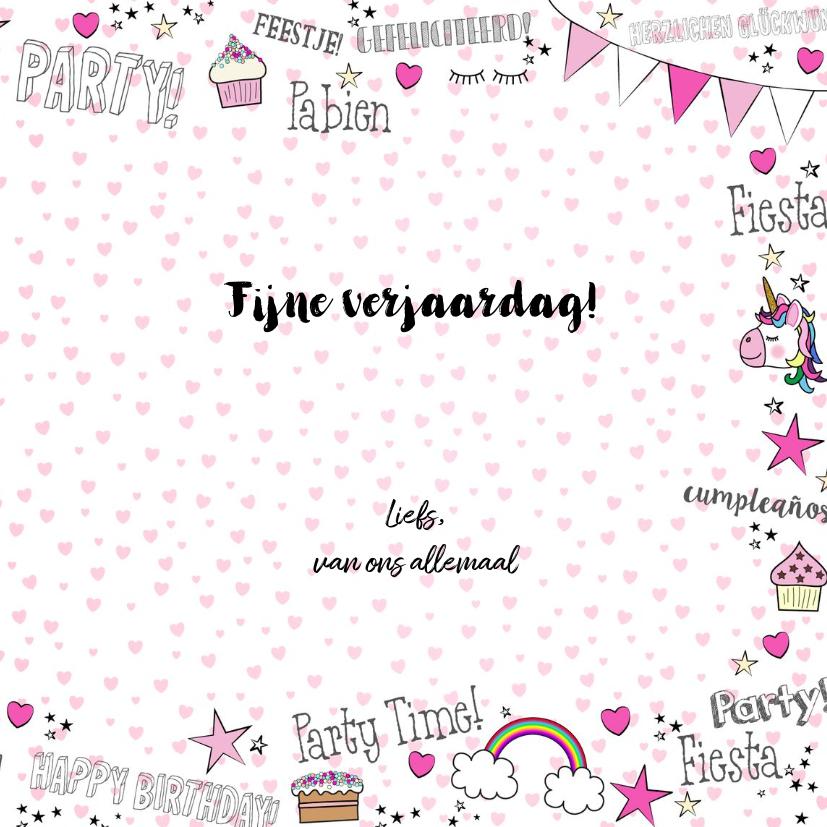 Verjaardag feestelijke kaart handletteringstijl met unicorns 3