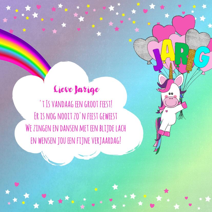 Verjaardag hippe vrolijke felicitatie unicorn met  ballonnen 2