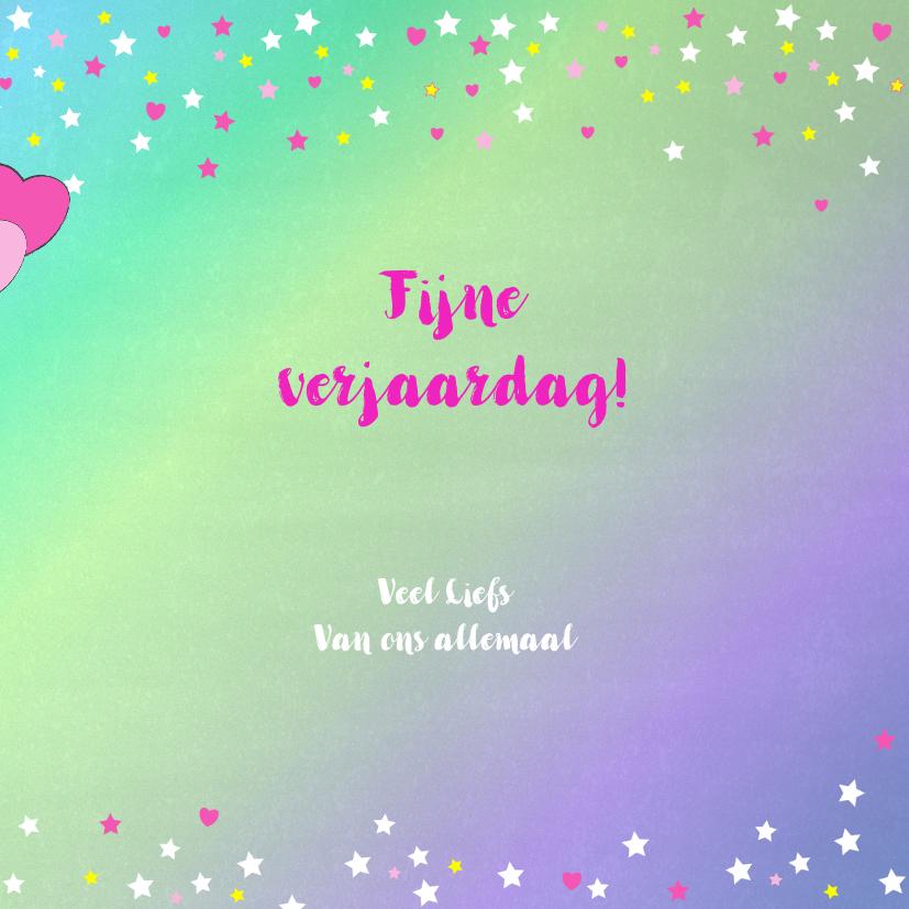Verjaardag hippe vrolijke felicitatie unicorn met  ballonnen 3