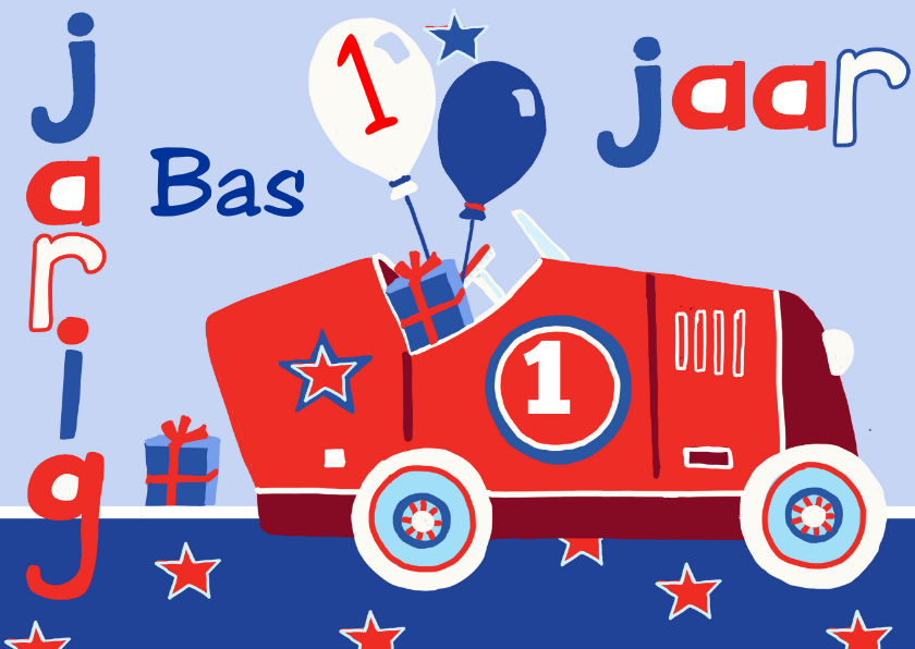 Verjaardag kind 1 jaar auto verjaardagskaarten kaartje2go for Poppenhuis kind 2 jaar