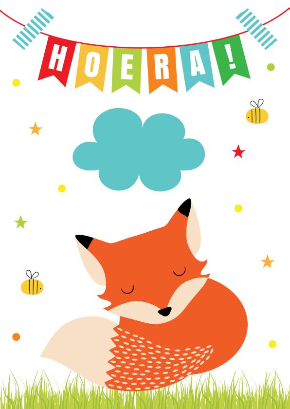 Verjaardag kind vosje slinger verjaardagskaarten for Poppenhuis kind 2 jaar