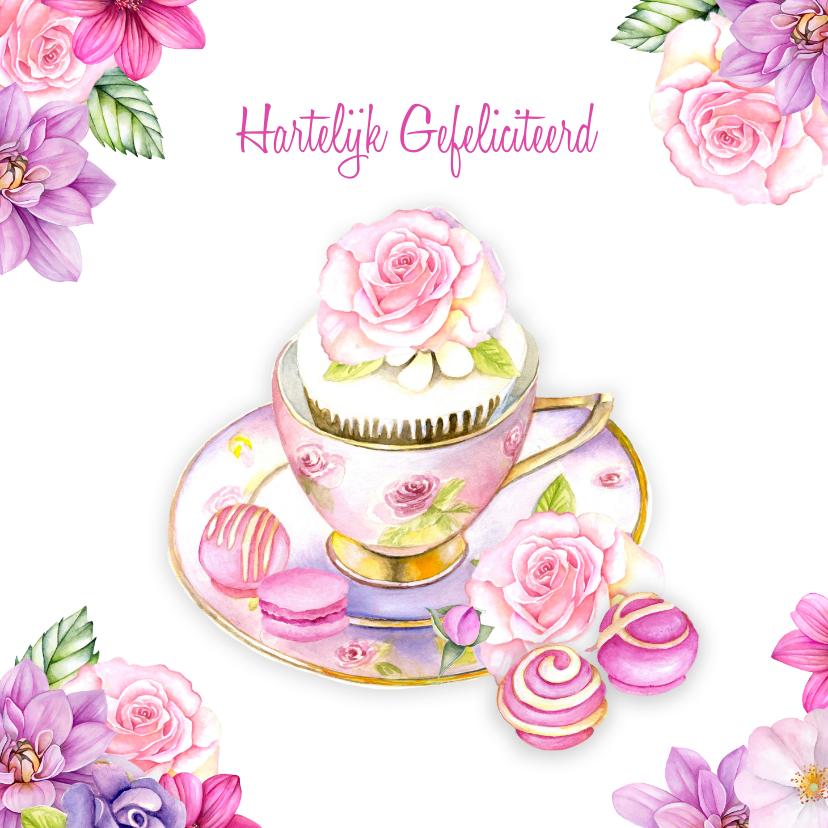 Voorkeur verjaardag kopje bloemen - Verjaardagskaarten - Kaartje2go @GF-39