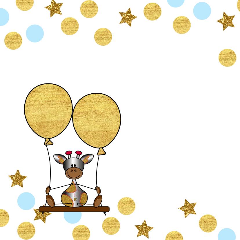 Verjaardag lief girafje op schommel met ballon 2