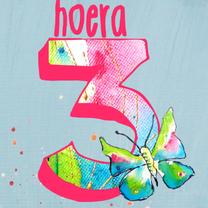 Verjaardagskaarten - Verjaardag meisje 3 jaar vlinder