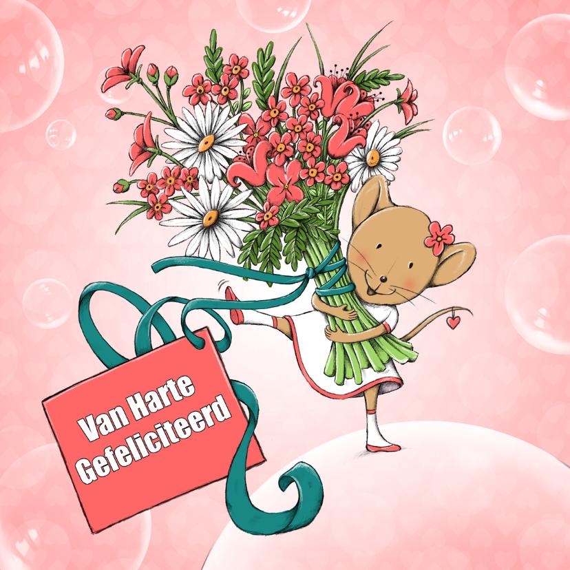 Top Verjaardag muis met bloemen-IH - Verjaardagskaarten - Kaartje2go PE29