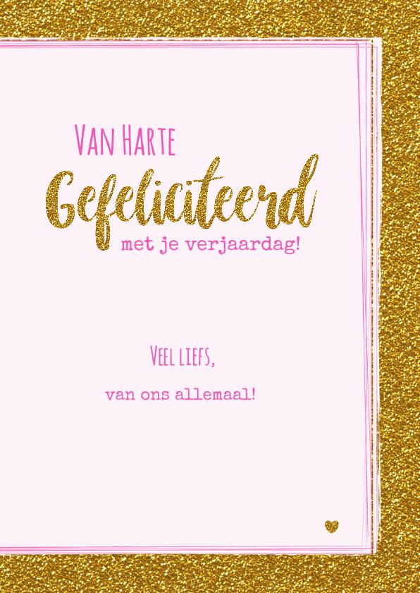 Verjaardag trendy gouden glitter kaart met vrolijke Unicorn  3