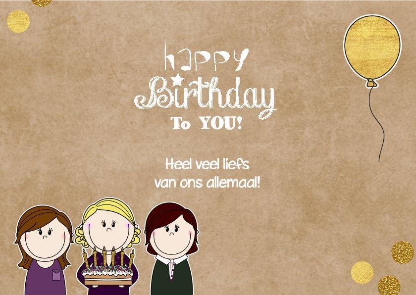 Verjaardag vrolijke meiden met taart 3