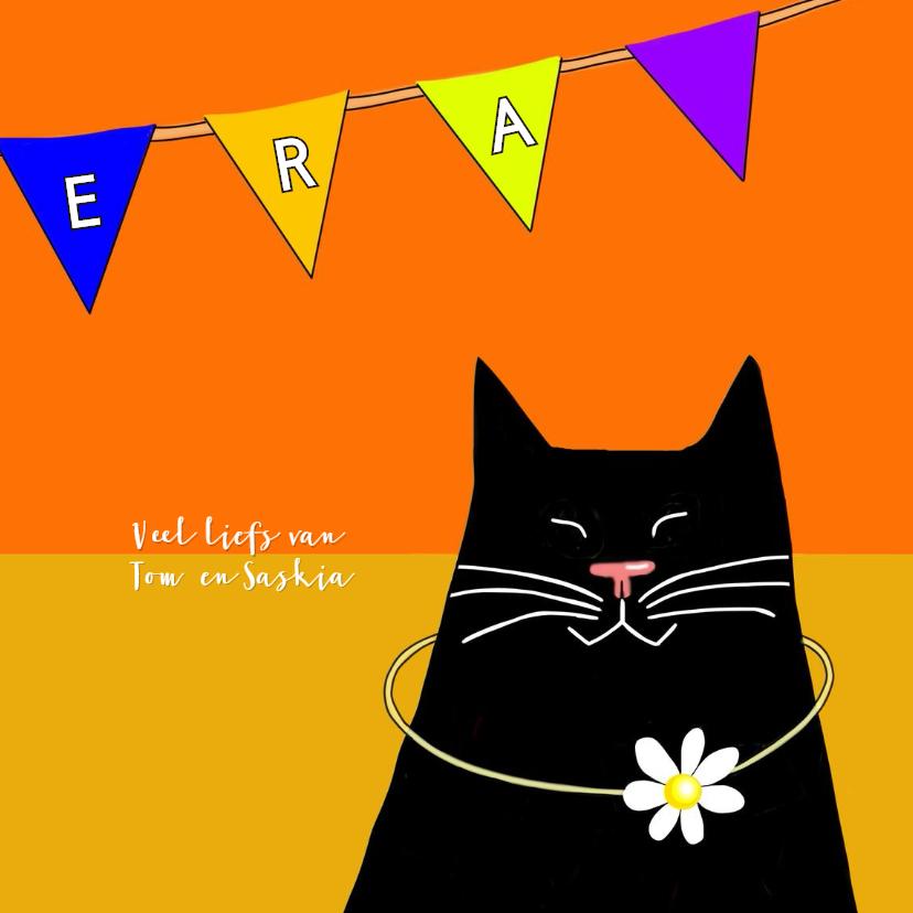 Verjaardag - zwarte kat met slinger 3