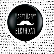 Verjaardagskaarten - Verjaardagkaart ballon snorretje