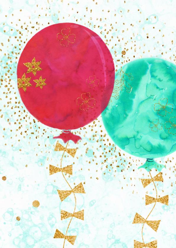 Verjaardagkaart glitters en ballonnen 2