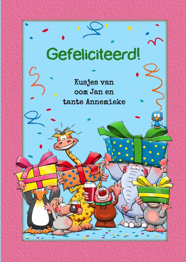 Verjaardagkaart voor meisje van 1 jaar met grappige beesten 3