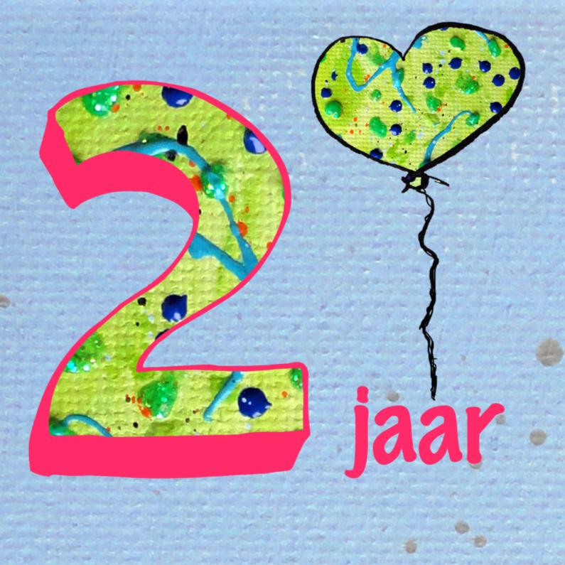 Verjaardagskaart 2 jaar ballon verjaardagskaarten for Poppenhuis kind 2 jaar