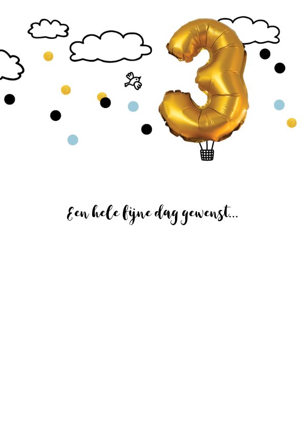 Verjaardagskaart 3 jaar luchtballon goud kleurig 3