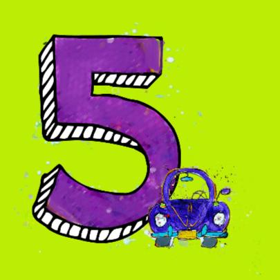 Verjaardagskaart 5 jaar auto 2