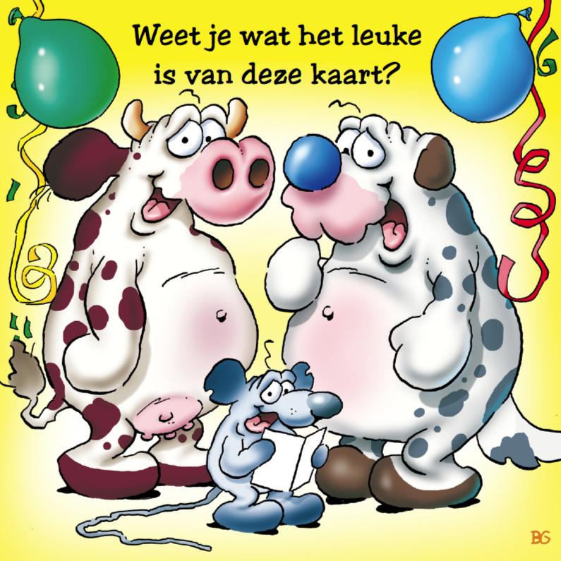Vaak Verjaardagskaart 9 koe hond muis met ballonnen  &II68