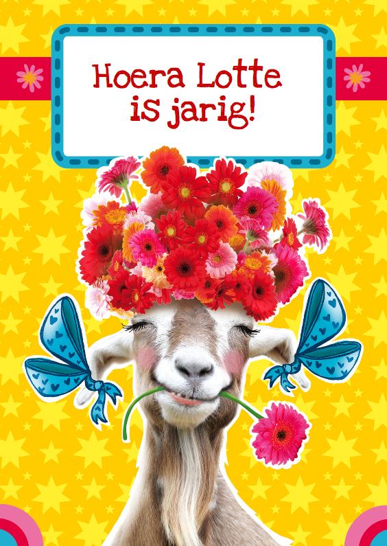lotte is jarig verjaardagskaart bloemen geit | Kaartje2go lotte is jarig