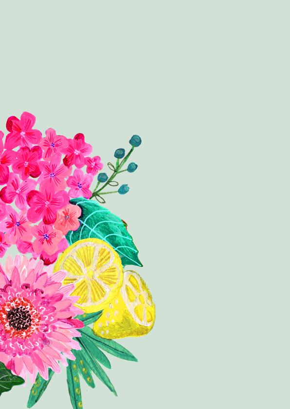 Verjaardagskaart bloemen zomer 2