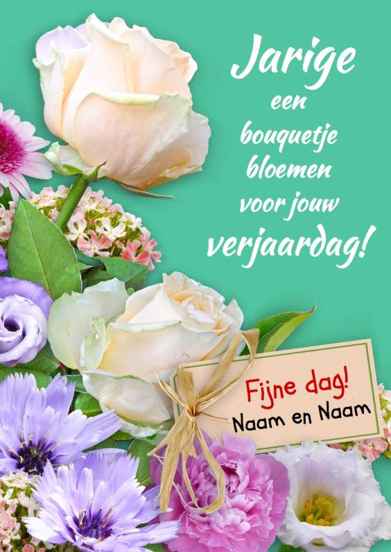 verjaardagskaart bloemen Verjaardagskaart Boeketje bloemen met witte | Kaartje2go verjaardagskaart bloemen