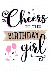 Verjaardagskaarten - Verjaardagskaart Cheers girl