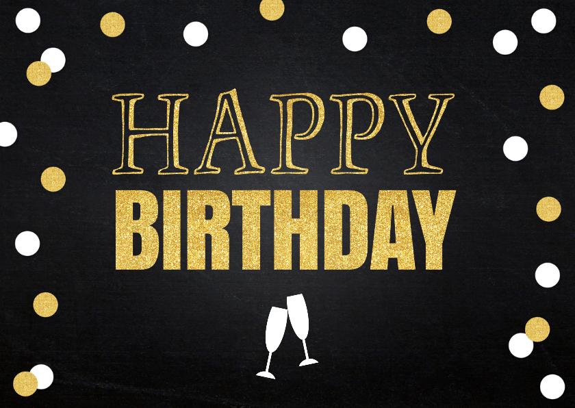 Verjaardagskaart confetti goud krijtbord 2