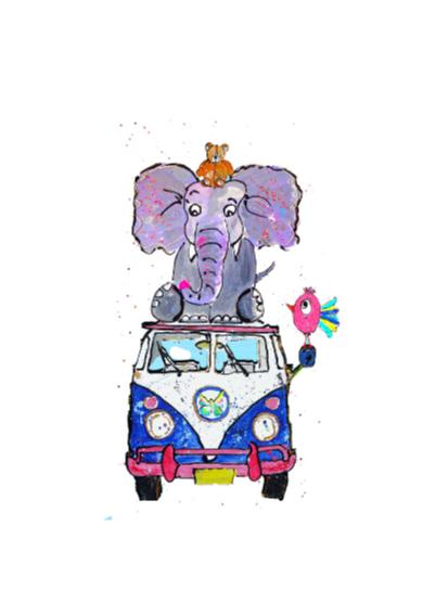 Verjaardagskaart dieren toren 2