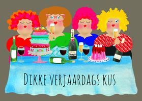 Verjaardagskaarten - Verjaardagskaart dikke dametjes