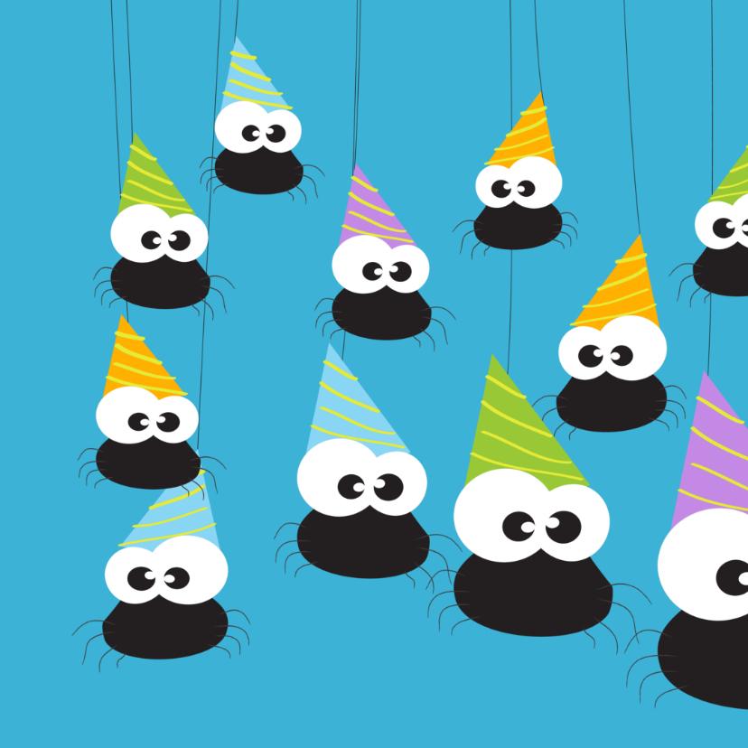 Verjaardagskaart feest met spin 2
