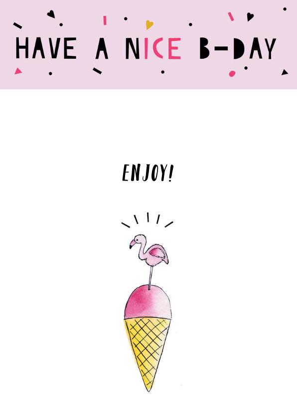 Verjaardagskaart felicitatie flamingo ijs 2